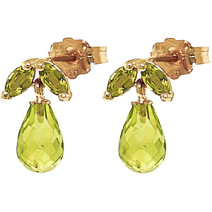 Peridot Snowdrop Briolette Stud Earrings 3.4ctw in 9ct Gold