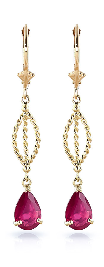 Ruby Sceptre Drop Earrings 3.5ctw in 9ct Gold