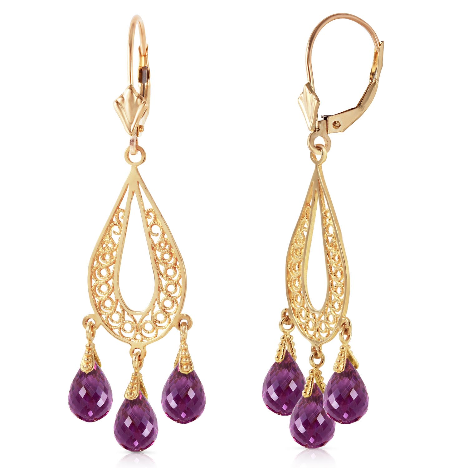 Amethyst Mirage Briolette Drop Earrings 3.75ctw in 9ct Gold