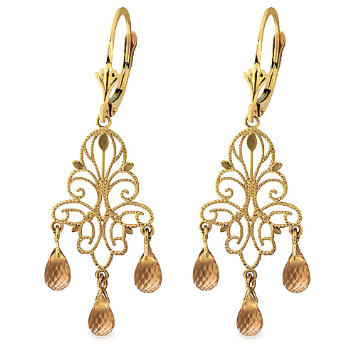 Citrine Mirage Briolette Drop Earrings 3.75ctw in 9ct Gold