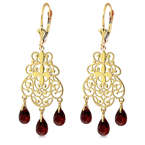 Garnet Trilogy Briolette Drop Earrings 3.75ctw in 9ct Gold
