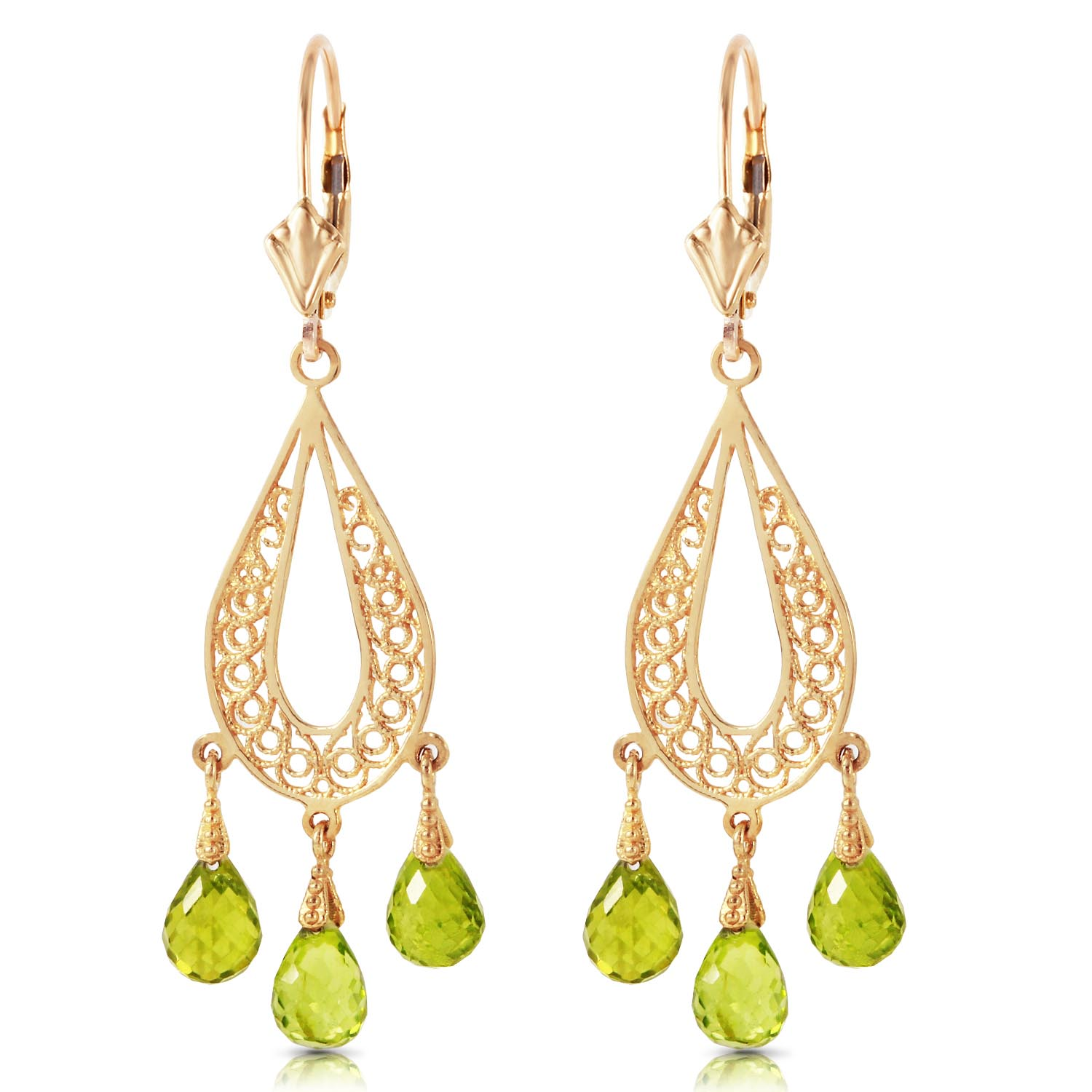 Peridot Mirage Briolette Drop Earrings 3.75ctw in 9ct Gold