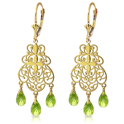 Peridot Trilogy Briolette Drop Earrings 3.75ctw in 9ct Gold