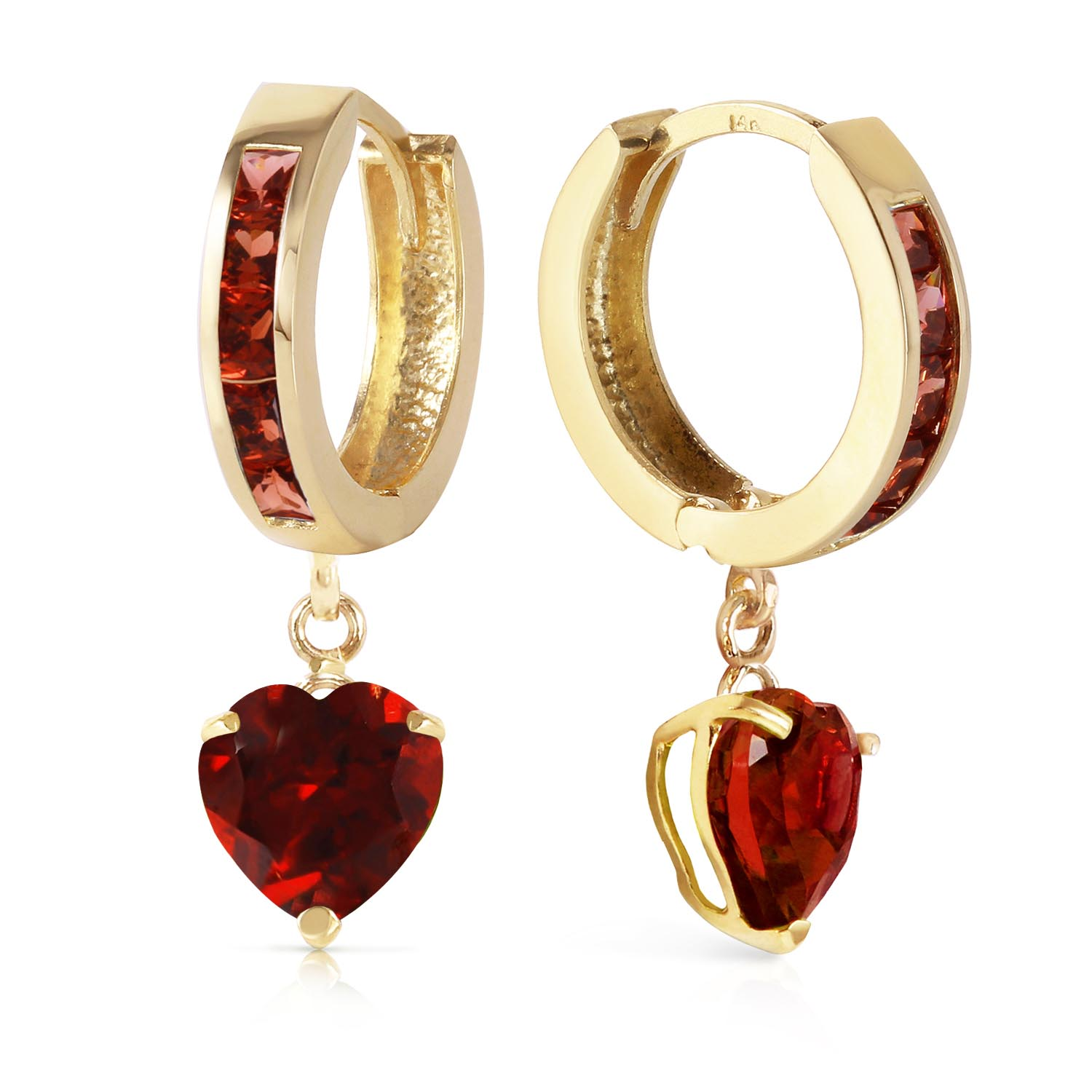 Garnet Huggie Earrings 3.85ctw in 9ct Gold