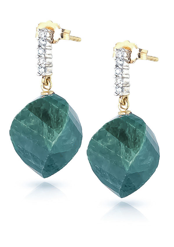 Emerald and Diamond Stud Earrings 30.5ctw in 9ct Gold