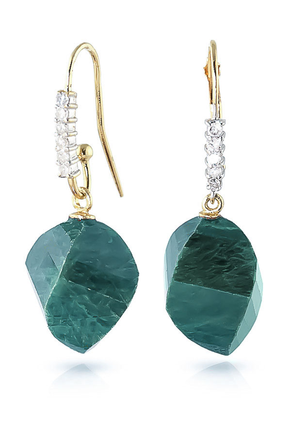 Emerald and Diamond Drop Earrings 30.5ctw in 9ct Gold