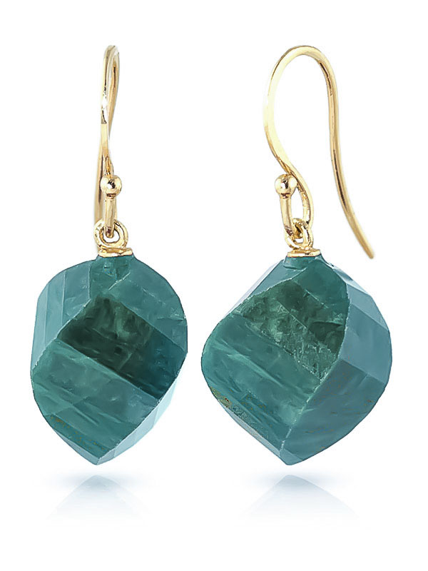 Emerald Spiral Briolette Drop Earrings 30.5ctw in 9ct Gold