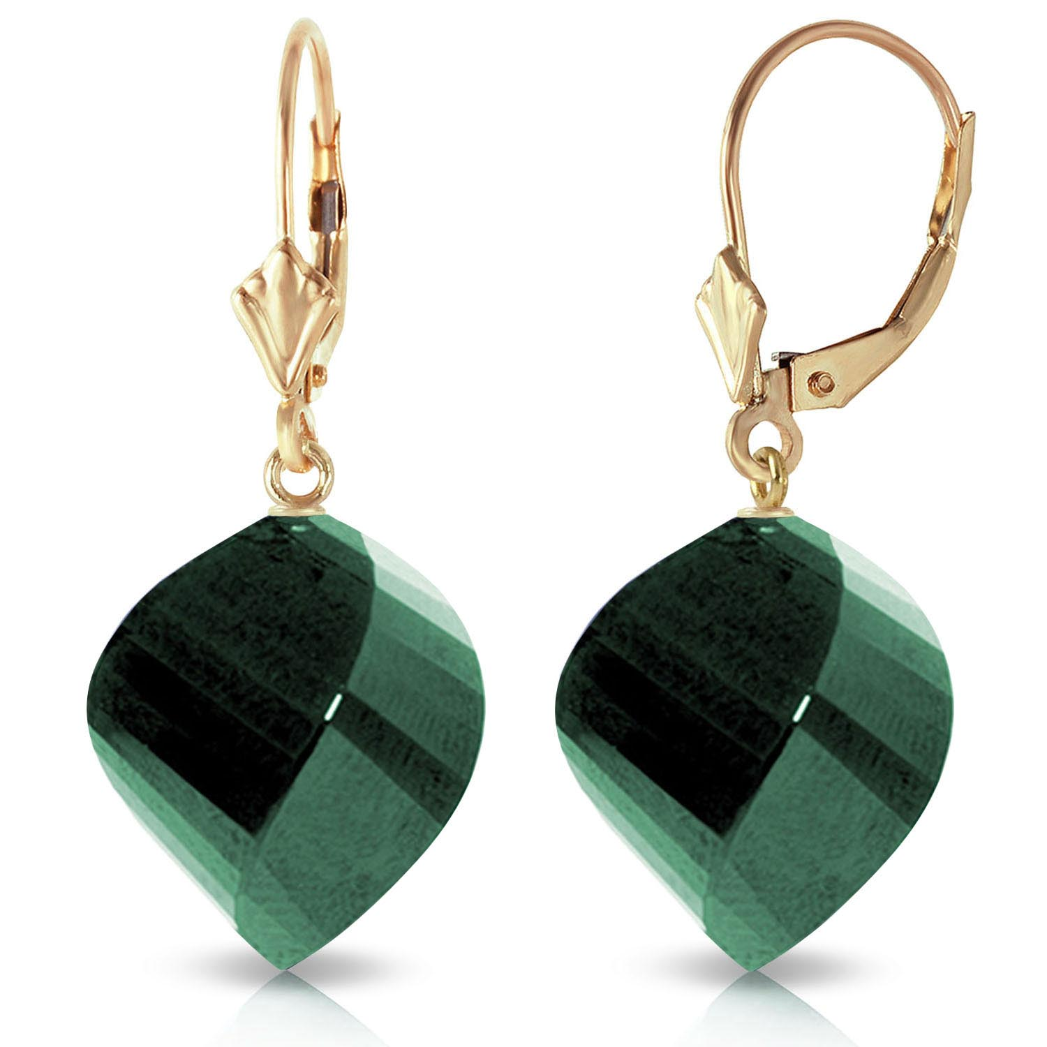 Emerald Briolette Drop Earrings 30.5ctw in 9ct Gold