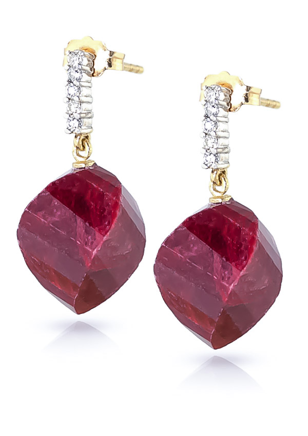Ruby and Diamond Stud Earrings 30.5ctw in 9ct Gold