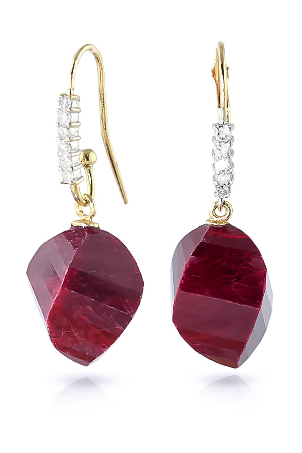 Ruby and Diamond Drop Earrings 30.5ctw in 9ct Gold