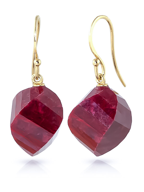 Ruby Spiral Briolette Drop Earrings 30.5ctw in 9ct Gold