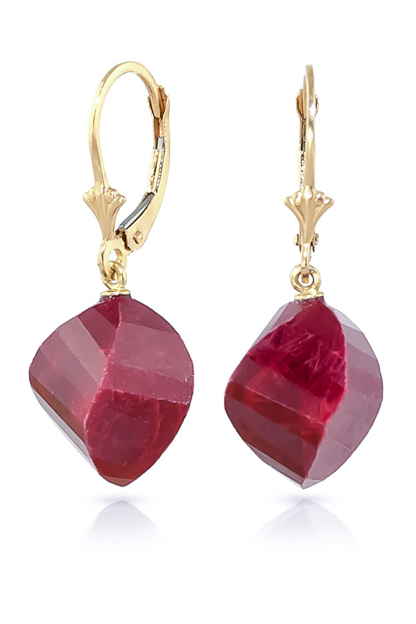 Ruby Briolette Drop Earrings 30.5ctw in 9ct Gold