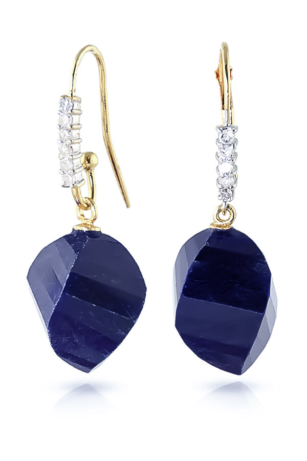 Sapphire and Diamond Drop Earrings 30.5ctw in 9ct Gold