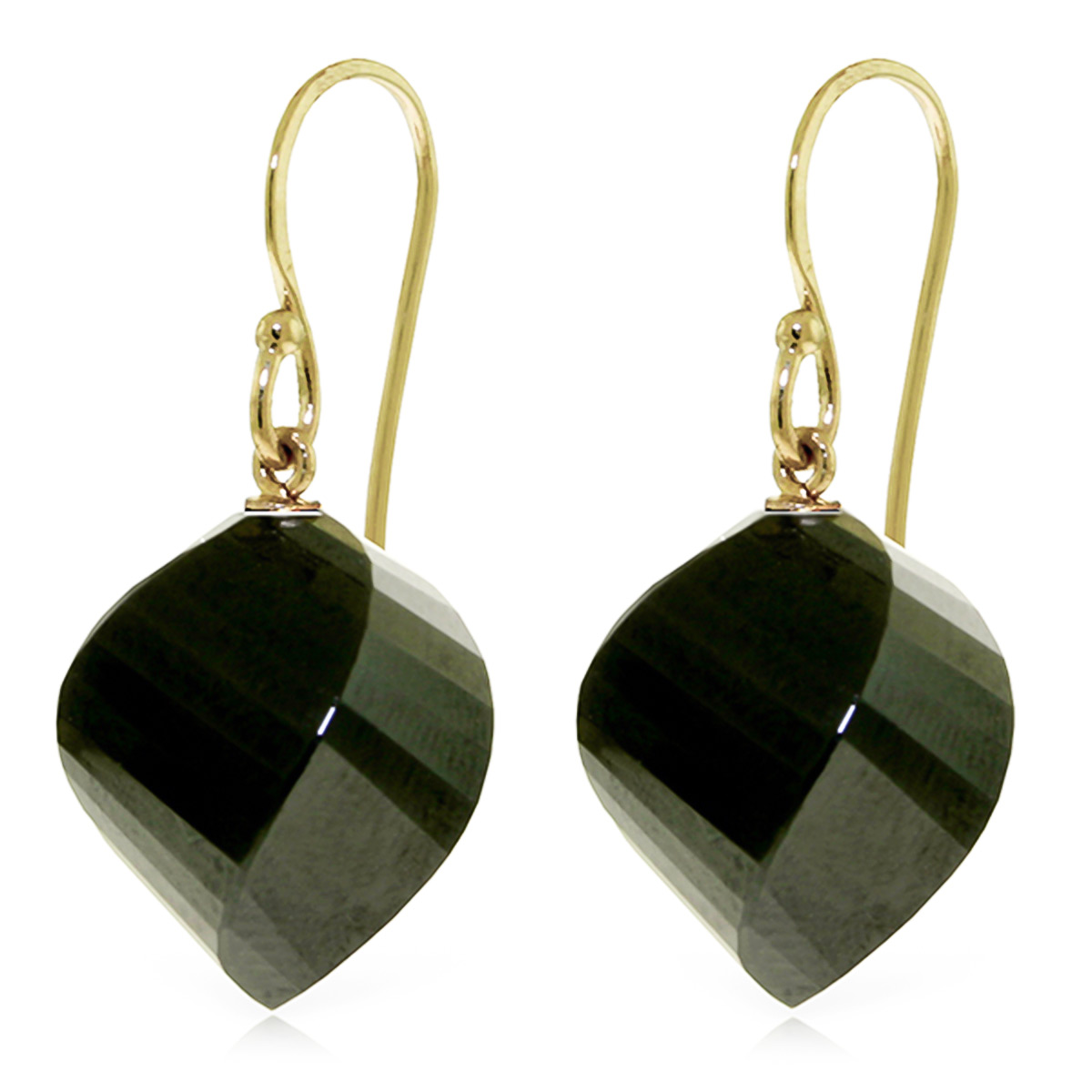 Black Spinel Spiral Briolette Drop Earrings 31.0ctw in 9ct Gold