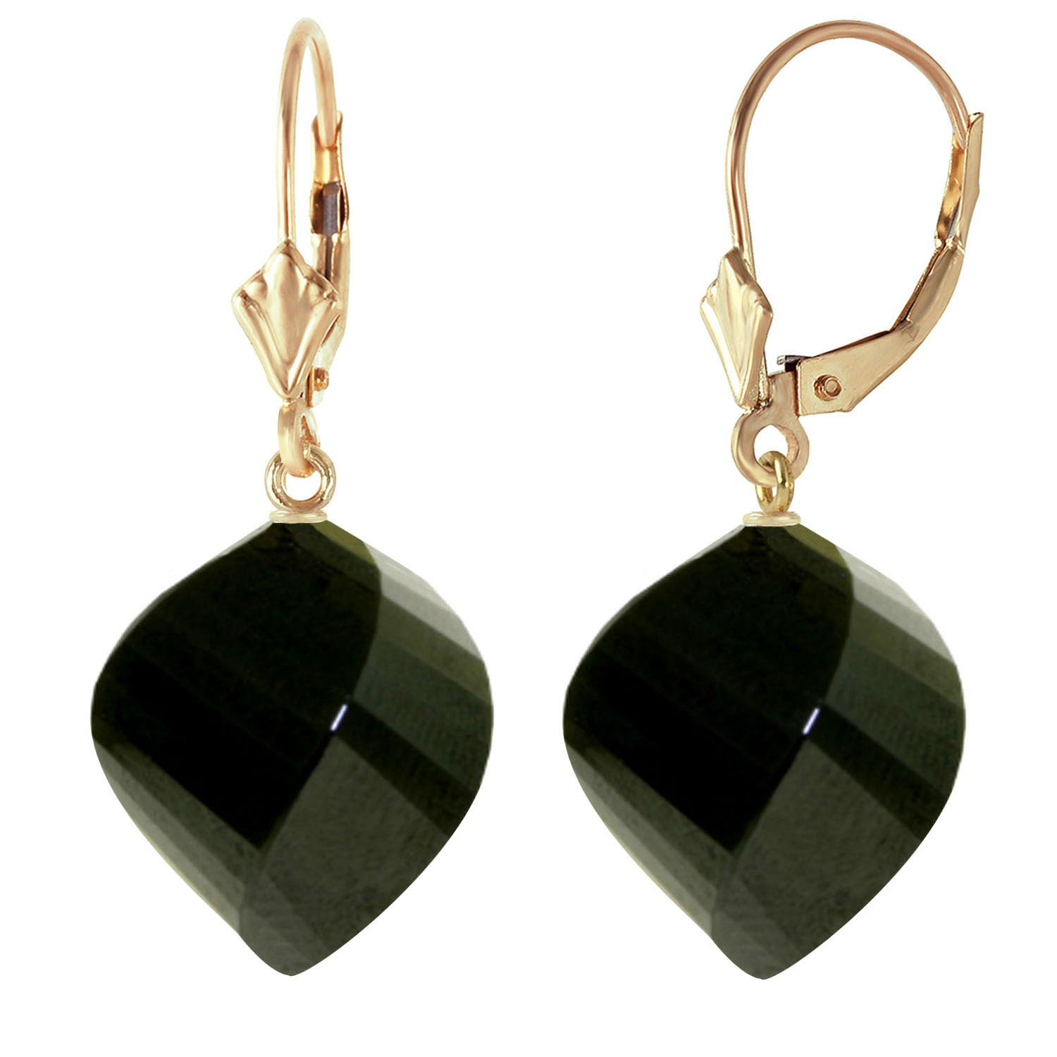 Black Spinel Briolette Drop Earrings 31.0ctw in 9ct Gold