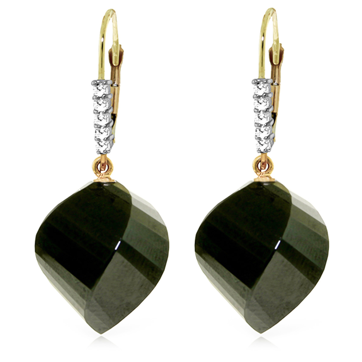 Black Spinel and Diamond Drop Earrings 31.0ctw in 9ct Gold