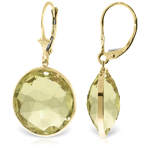 Lemon Quartz Drop Earrings 34.0ctw in 9ct Gold