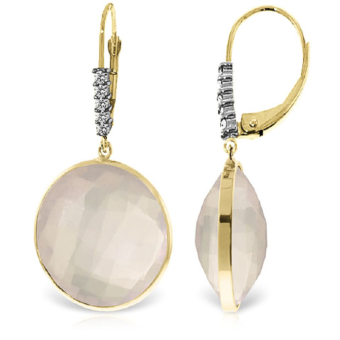 Rose Quartz and Diamond Drop Earrings 34.0ctw in 9ct Gold