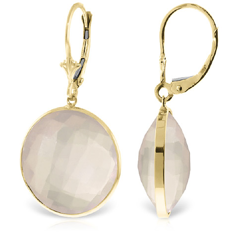 Rose Quartz Drop Earrings 34.0ctw in 9ct Gold