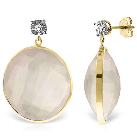 Rose Quartz and Diamond Stud Earrings 34.0ctw in 9ct Gold