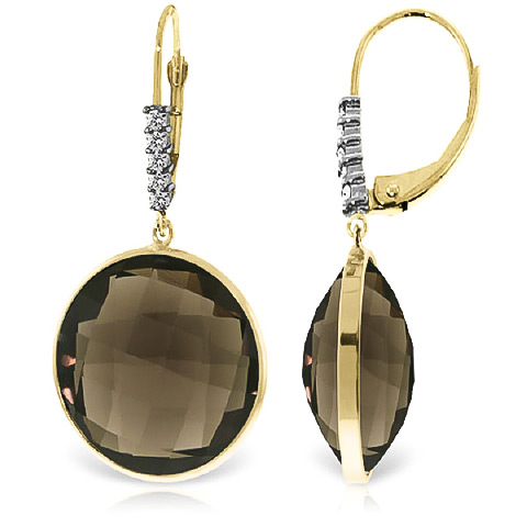 Smoky Quartz and Diamond Drop Earrings 34.0ctw in 9ct Gold