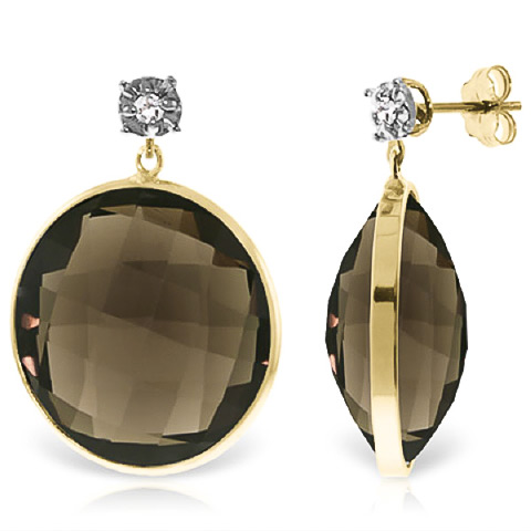 Smoky Quartz and Diamond Stud Earrings 34.0ctw in 9ct Gold