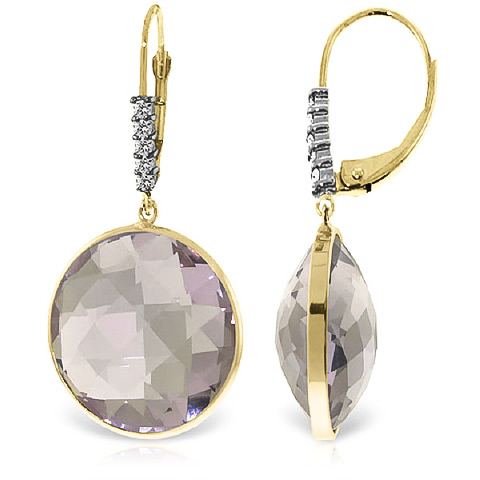 Amethyst and Diamond Drop Earrings 36.0ctw in 9ct Gold