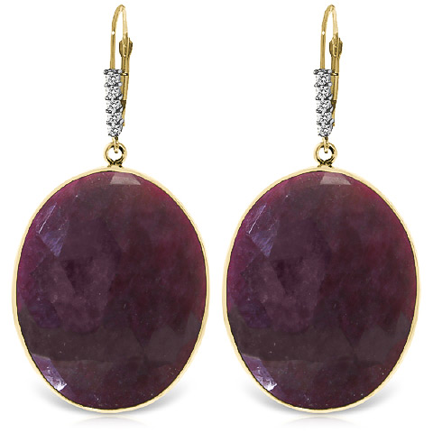 Ruby and Diamond Drop Earrings 39.0ctw in 9ct Gold