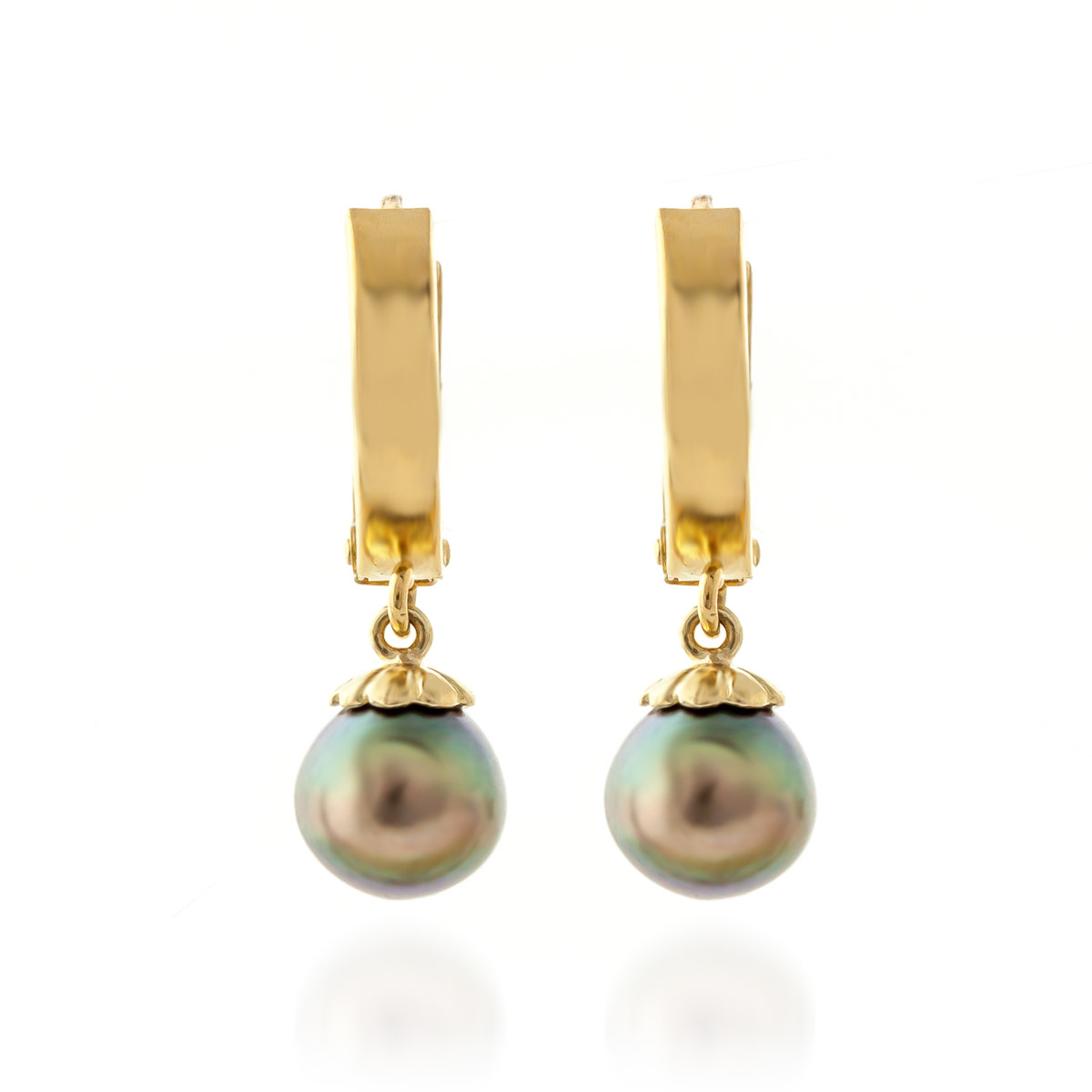 Black Pearl Drop Earrings 4.0ctw in 9ct Gold