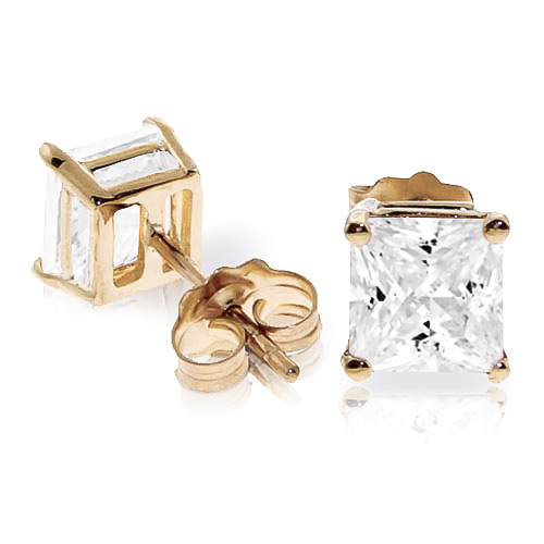 Cubic Zirconia Alexandra Stud Earrings 4.0ctw in 9ct Gold