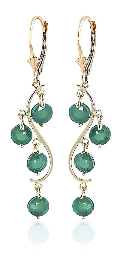 Emerald Dream Catcher Drop Earrings 4.0ctw in 9ct Gold