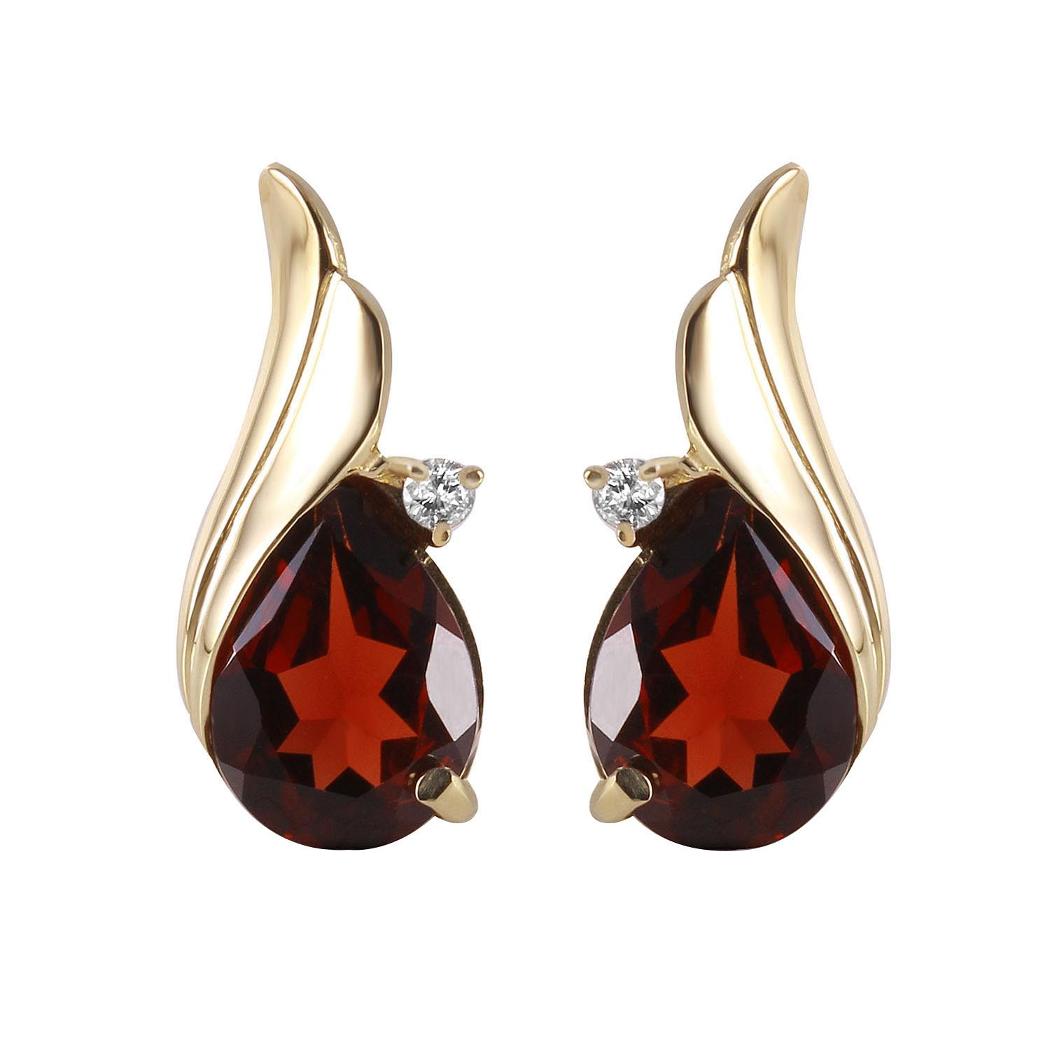 Garnet and Diamond Stud Earrings 4.0ctw in 9ct Gold