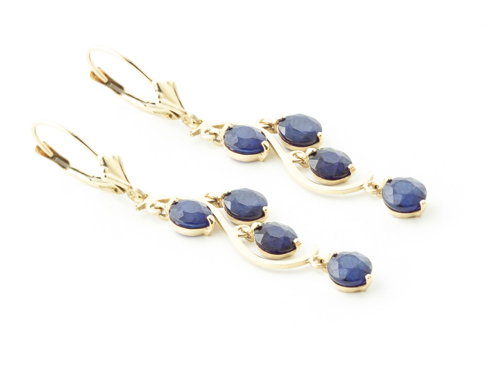 Sapphire Dream Catcher Drop Earrings 4.0ctw in 9ct Gold