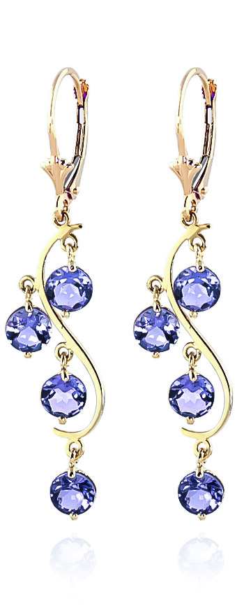 Tanzanite Dream Catcher Drop Earrings 4.0ctw in 9ct Gold