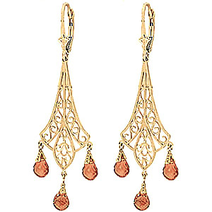 Citrine Trilogy Briolette Drop Earrings 4.2ctw in 9ct Gold