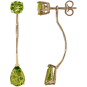 Peridot Lure Drop Earrings 4.2ctw in 9ct Gold