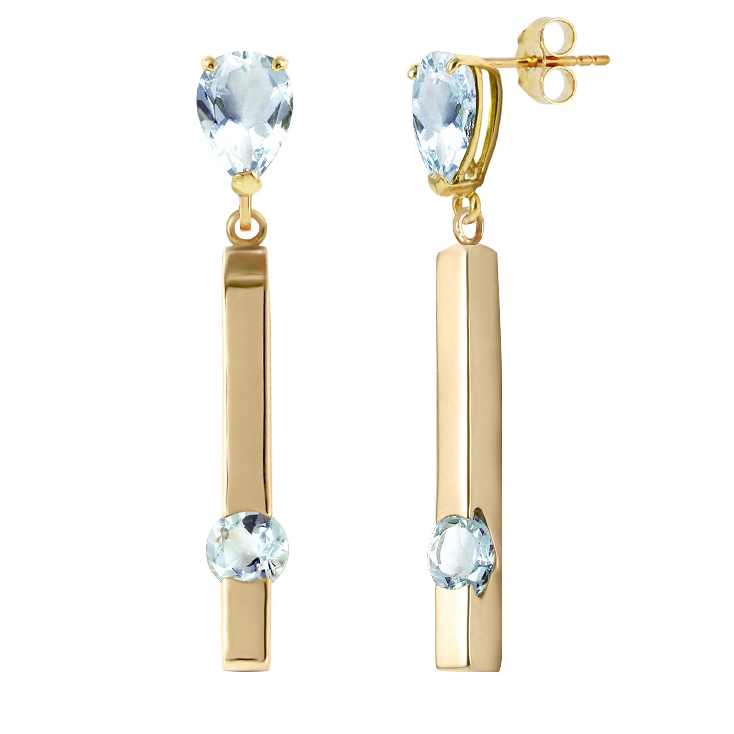 Peridot Bar Drop Earrings 4.25ctw in 9ct Gold