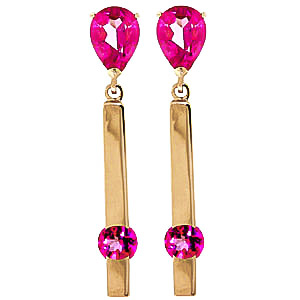 Pink Topaz Bar Drop Earrings 4.25ctw in 9ct Gold