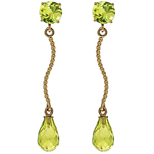 Peridot Lure Drop Earrings 4.3ctw in 9ct Gold