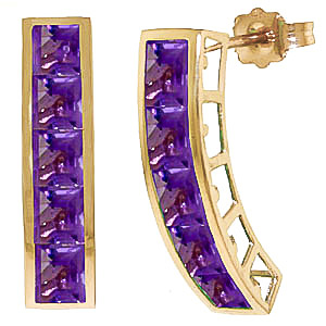 Amethyst Channel Set Stud Earrings 4.5ctw in 9ct Gold