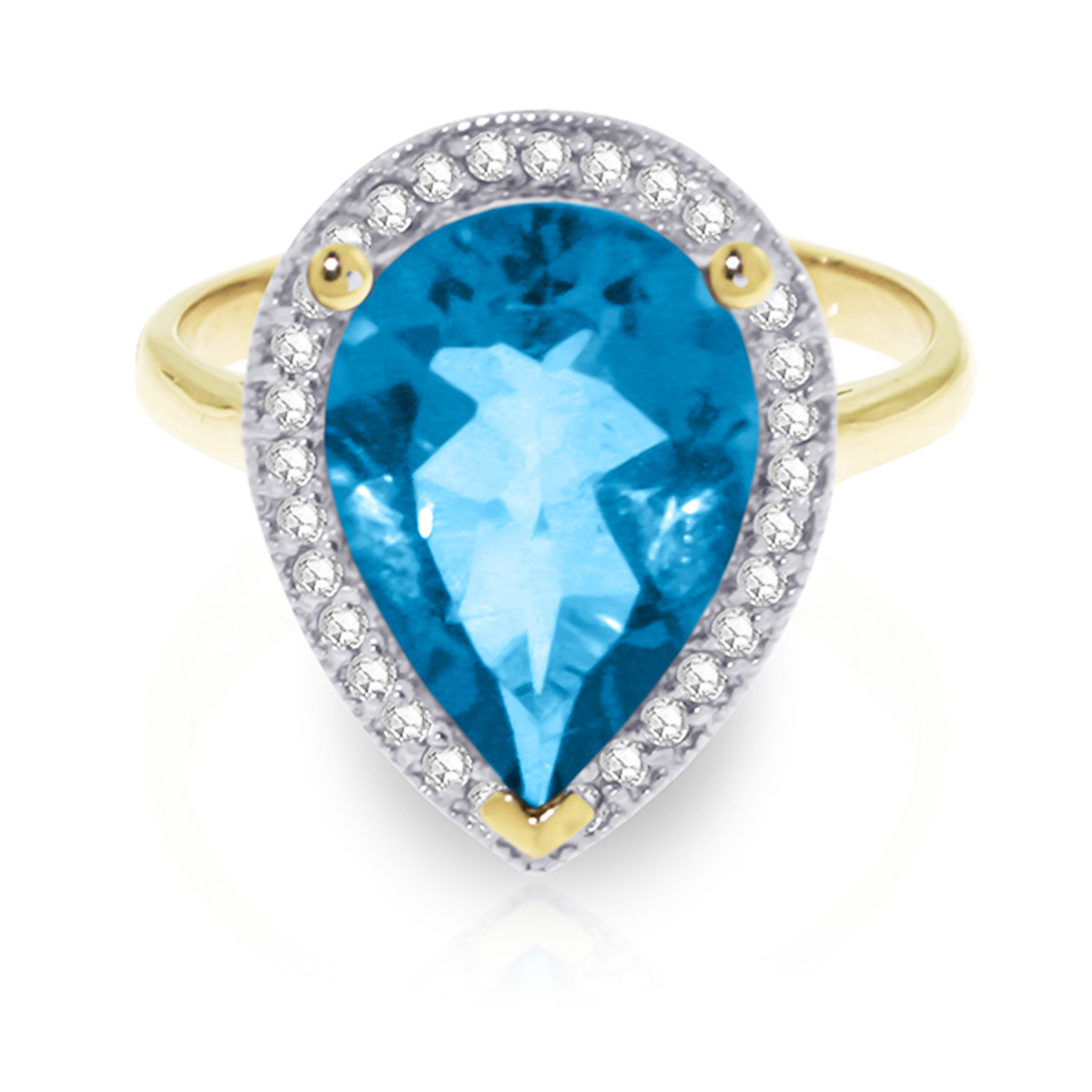Blue Topaz and Diamond Halo Ring 4.5ct in 9ct Gold