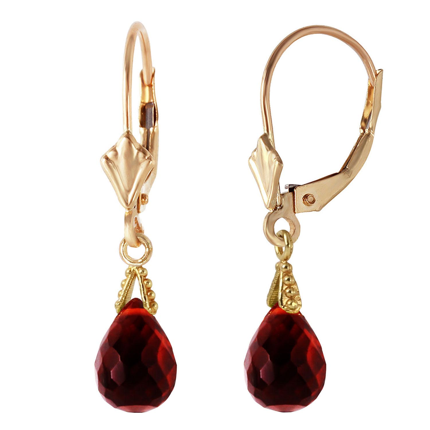 Garnet Droplet Briolette Earrings 4.5ctw in 9ct Gold