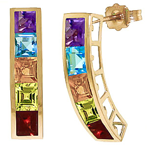 Gemstone Channel Set Stud Earrings 4.5ctw in 9ct Gold