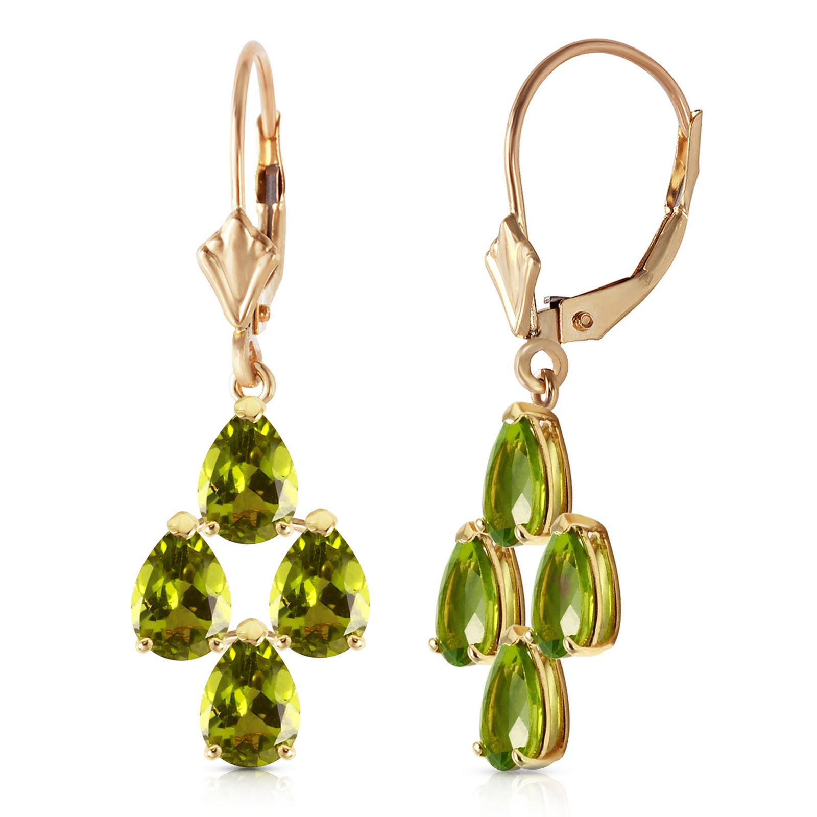 Peridot Drop Earrings 4.5ctw in 9ct Gold