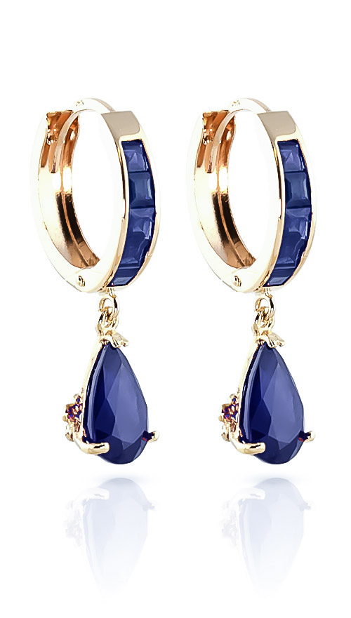 Sapphire Huggie Drop Earrings 4.55ctw in 9ct Gold