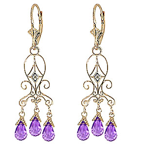 Amethyst and Diamond Baroque Drop Earrings 4.8ctw in 9ct Gold