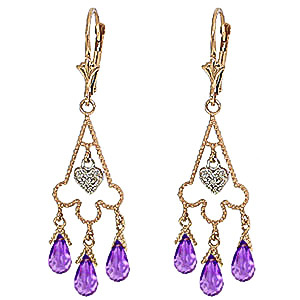 Amethyst and Diamond Trilogy Drop Earrings 4.8ctw in 9ct Gold