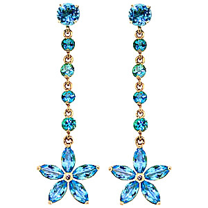 Blue Topaz Daisy Chain Drop Earrings 4.8ctw in 9ct Gold