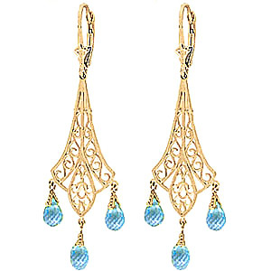 Blue Topaz Trilogy Briolette Drop Earrings 4.8ctw in 9ct Gold