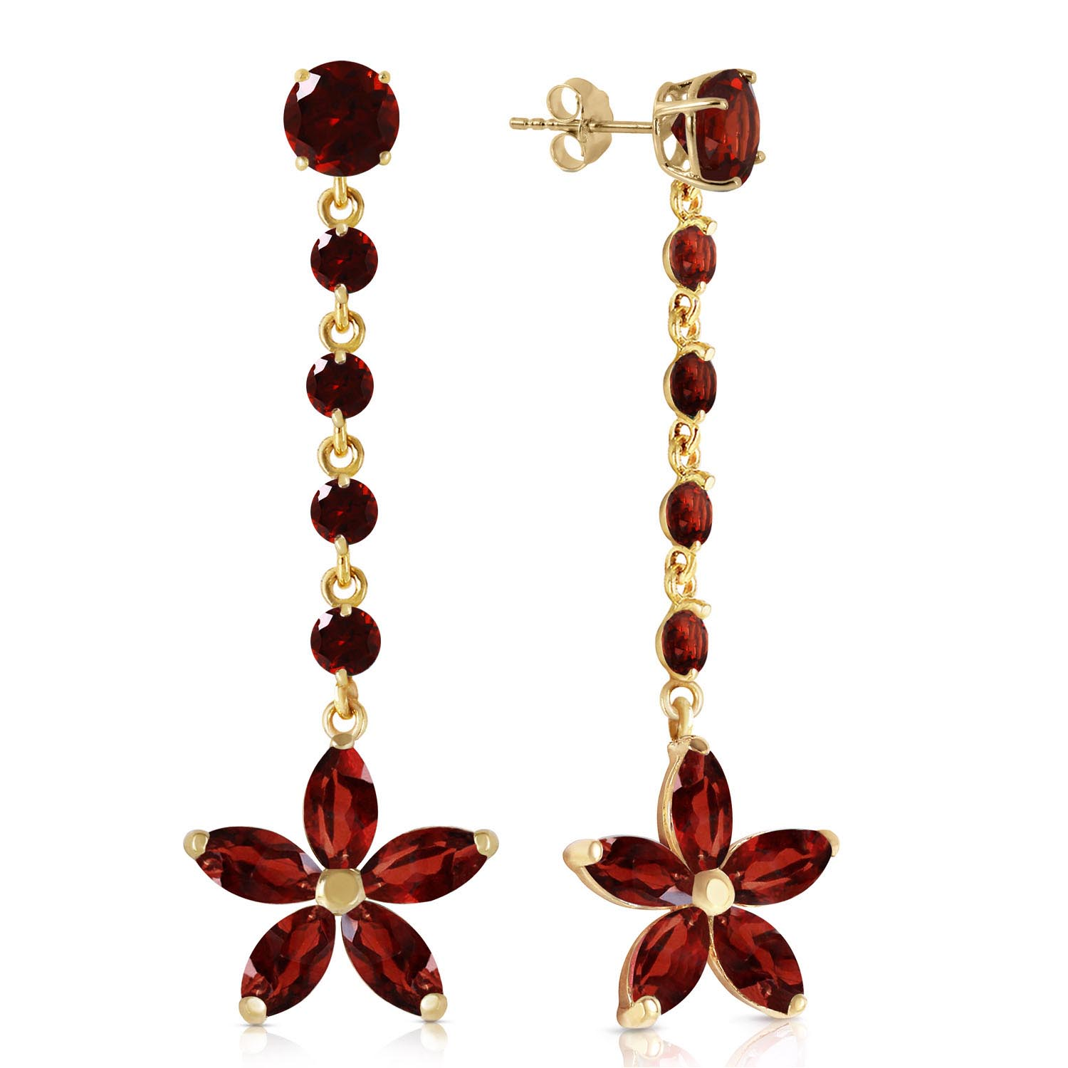 Garnet Daisy Chain Drop Earrings 4.8ctw in 9ct Gold
